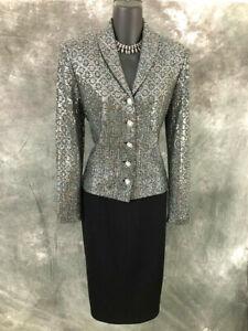 BEAUTIFUL St John couture knit jacket black gray paillettes suit blazer size 6
