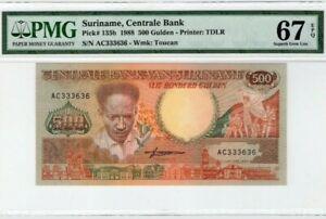 1988 Suriname 500 Gulden PMG67 EPQ SUPERB GEM UNC <P-135b>