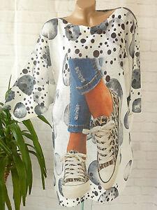40 42 44 46 Strick Pullover Kleid Strickkleid Leo Sneaker  Print   long Pullover