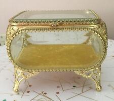 CLEAN Vtg Jewelry Casket Beveled Glass Brass Gilt Ormolu Case Trinket Box
