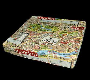 LL324t Tan Deep Red London High Quality Cotton Canvas 3D Box Seat Cushion Cover
