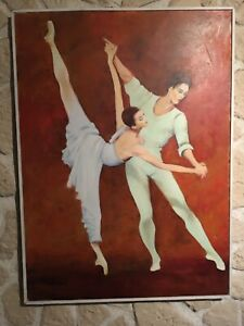 Grand Tableau Hst Danseurs Celebres Rudolf Noureev Margot Fonteyn Signé