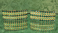Mid Century '50s SHOE Clips~65 RHINESTONES~Peridot & Emerald Green~MANY USES~EX!