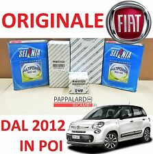 KIT TAGLIANDO 3 FILTRI ORIGINALI+ OLIO SELENIA FIAT 500 L 0.9 900 METANO 63KW