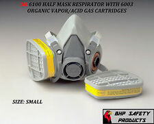 3M 6100 HALF MASK REUSABLE RESPIRATOR WITH 6003 OV/AG CARTRIDGES SIZE SMALL