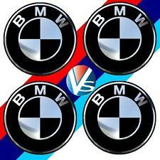 4 adhésifs sticker BMW noir & chrome 74 MM pour centre de jantes