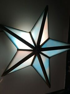 BLUE STAR LIGHT, LAMP, STAINED GLASS
