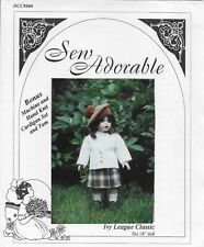 "Sew Adorable Ivy League Classic Pattern for 18"" Dolls Blazer, Skirt, Top Dcc9006"