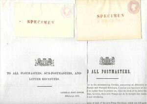 GB Stationery 1841 Postal Notice QV 1d pink SPECIMEN ovpt Envelopes size B & F