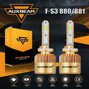 AUXBEAM 8000LM 72W 880 881 CSP LED Fog Light 6500K Super White Bright Bulbs F-S3