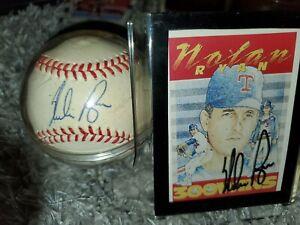 Nolan Ryan Signed Autographed MLB Baseball & Autographed 300 Wins Card