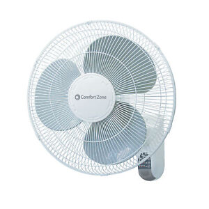 "Comfort Zone CZ16WR 16"" Quiet 3-Speed Wall Mount Fan with Remote Control"