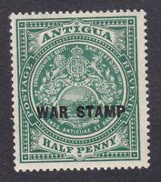 Antigua 1916-17 1/2d Green War Stamp - SG52 - Mint Hinged (E14A)