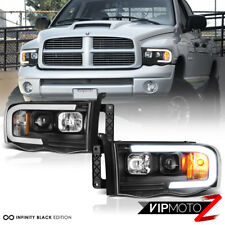 02-05 Dodge RAM Pickup 1500 2500 3500 Black LED Bar Neon DRL Projector Headlight
