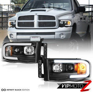 For 02-05 Dodge RAM Pickup 1500 2500 3500 Black LED Neon Bar Projector Headlight