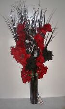 black red flowers & glass vase & prelit 5 twigs(30 lights) weddings,lounge GIFT