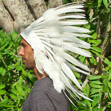 Feather Headdress- Native American Indian Inspired -ADJUSTABLE- All White Duck