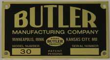 Butler Visible Gas Pump Model 30 Brass ID Tag Free S&H ID-121A