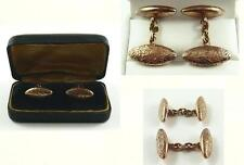 Antique 10 K Rose Gold Decoratively Engraved Cufflinks with Case c. 1890-1900
