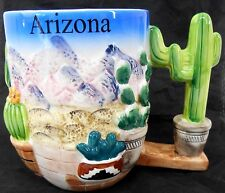 Large Ceramic Desert scene coffee tea mug 5 x 3¾ Mountains cacti Saguaro handle