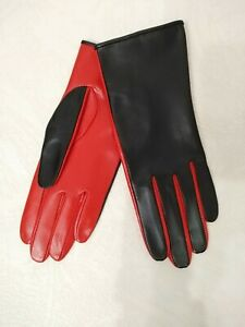 FASHION WOMEN'S RED AND BLACK LEATHER DRIVING GLOVES