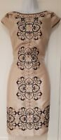 Womens Monsoon Shift Occasion Evening Dress Beige Sequins Jewel Embellished 8.
