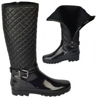 WOMANS LADIES PATENT QUILTED WELLIES BUCKLE ZIP UP WINTER WARM BOOTS SIZE 3-8