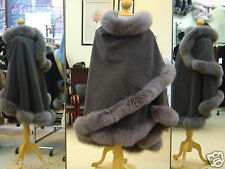 Charcoal Gray Cashmere Cape With Fox Fur Trim Beautifully Canadian Label