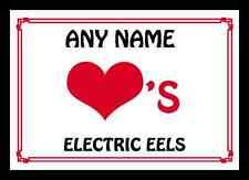 Love Heart Electric Eels Personalised Mousemat