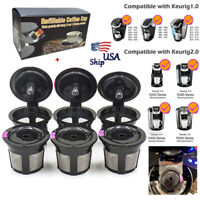 Refillable Reusable Single K-Cups Filter Pod for Keurig 1.0 2.0 Coffee Makers x6