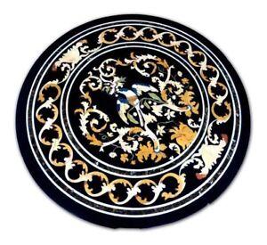 """36"""" Marble Table top semi precious stones handicraft inlay pietradura home decor"""