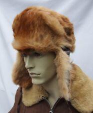 Vintage  REAL RABBIT / Leather  Ushanka trapper   fur hat size: 56/57cm