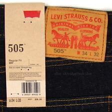 Levis 505 Jeans New Size 34 x 32 INDIGO (Dark Blue) Mens Straight Zip Fly #536