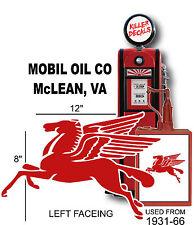 "(MOBI-2) 12"" LEFT FACING MOBIL PEGUSUS GASOLINE DECAL CAN / GAS PUMP / LUBSTER"