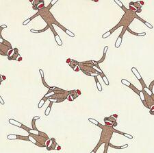 5 Funky Sock Monkeys Cream Flannel Fabric