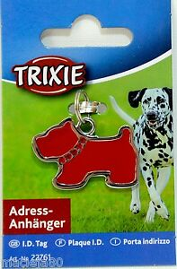TRIXIE DOG SHAPED Address Tag ID Pet WRITE CONTACT DETAILS Red with RHINESTONE