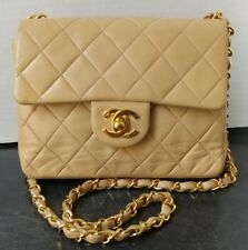 Chanel Vintage Beige Lambskin Quilted Mini Classic Flap Bag