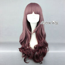 65CM Lolita Ombre Brownish Purple Long Curly Party Bang Cosplay Wig Halloween
