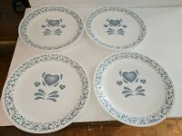 "4 Vintage Corning Corelle BLUE  HEARTS 10-1/4"" Dinner Plates Made In USA"