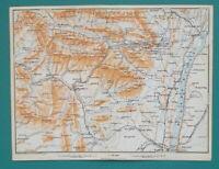 "CATSKILL MOUNTAINS New York Hudson River - 1909 MAP Baedeker 6 x 8"" (15 x 20 cm)"