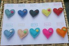 A Handmade Heart Brooch in felt - various colours, on card for gift/favour