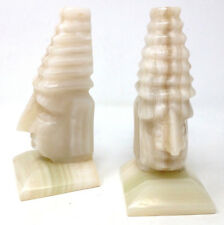 """Carved Marble Figural Bookends Vtg Polished Natural Stone Aztec Tribal Pair 8"""""""