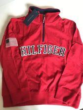 Nwt Hilfiger Half Zip Sweatshirt Red Boy Small 8 10