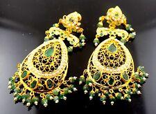 22k Solid yellow Gold Emerald LONG EARRINGS chandeliers Dangle DANGLING  E612