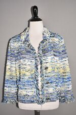 ST. JOHN COLLECTION NEW $1595 Chelsea Tweed Knit Jacket Cornflower Multi Size 8