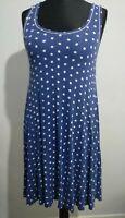 Seafolly Australia Blue White Polka Dot Spots Dress Size M Vest Style Flare UK12