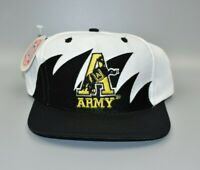 Army Black Knights Logo 7 Sharktooth Vintage 90s Twill Snapback Cap Hat - NWT