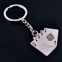 Fashion Personality Ring Chain Car Metal Keychain Poker Gift