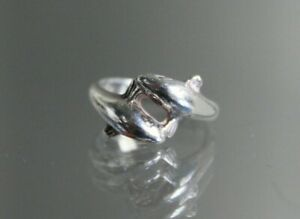 Charming Sterling Silver Dolphin Ring Size L