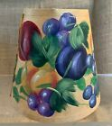 Handpainted Paper Lamp Shade Candelabra Bulb Clip Fruit & Berries Signed Janice